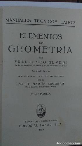 Elementos De Geometría. Tomo 1 Y 2 - Prof. Francesco Severi