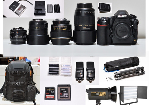 Kit Fotográfico Nikon D850 lente acessórios E Iluminações