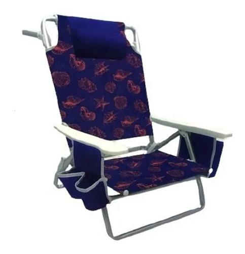 Cadeira De Praia Reclinável Com Bolso Porta Copos E Revistas