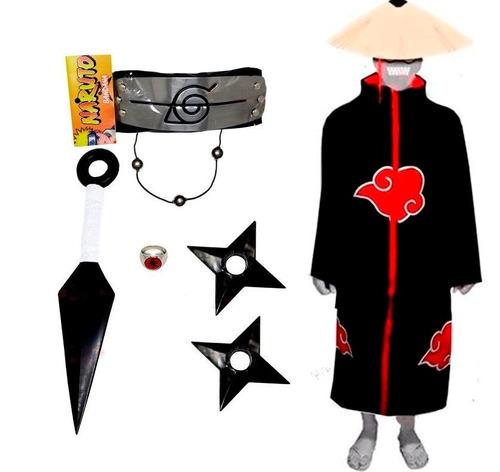 Cosplay Manto Akatsuki Itachi Kunai Naruto Anel Shuriken A01