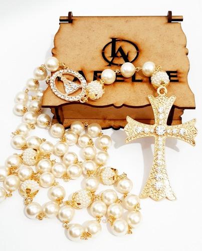 Terço  De Noivas Dourado Com Pérolas. Marca Larelle