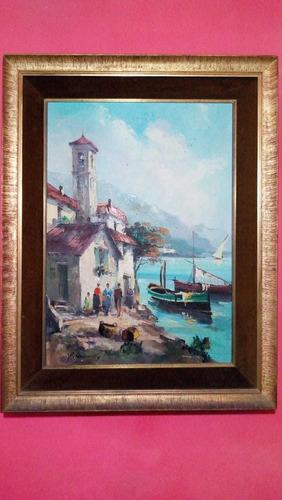 Maravilhosa E Antiga Obra De Arte Pintura Óleo Em Tela