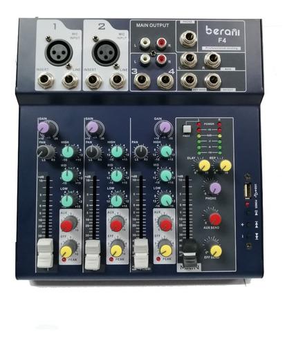 Consola De Audio Berani 4 Canales Usb Mp3  Phantom