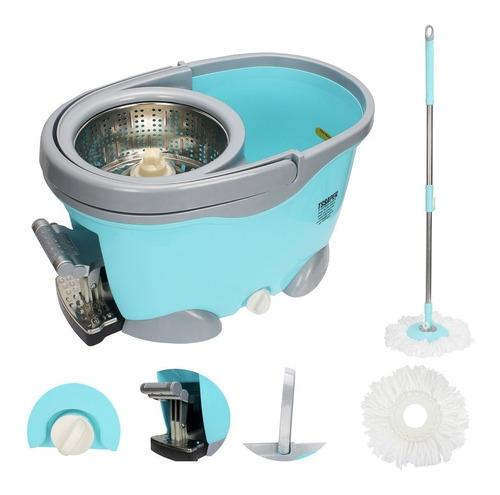 Balde Spin Mop 360 Inox Com Pedal Aluminio Completo Sp301-g