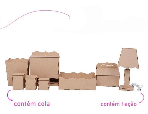 Kit Higiene Bebe Liso Em Mdf Cru 8 Peças Envio 24hs Promoção