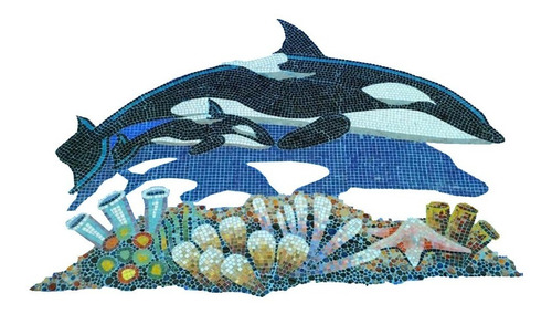Figura Orca Con Bebe De 2.50 Mts. Para Alberca En Mosaico