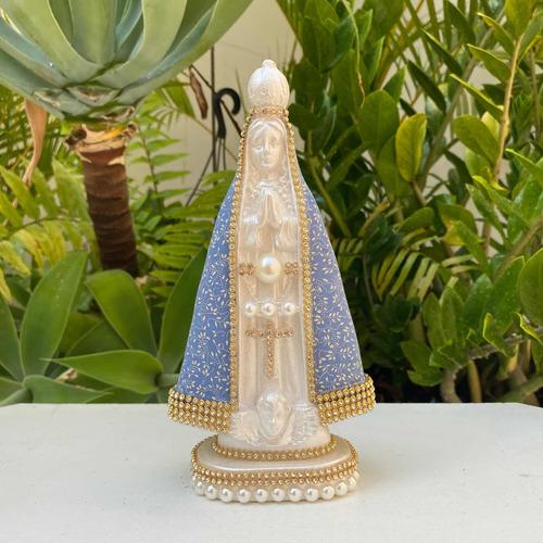 Nossa Senhora Aparecida 20cm Manto Florido Flor Azul Linda