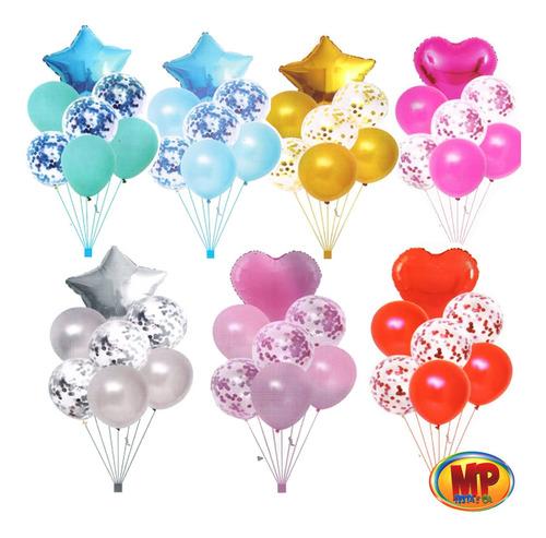 Kit 7 Balão Metalizado Coração Estrela Confete Arranjo Festa