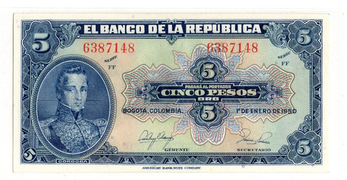 Billete 5 Pesos Oro Colombia 1950 Unc