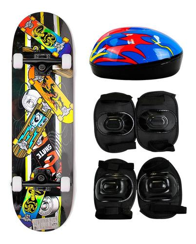Skate Skateboard Iniciante Completo + Kit Proteção Completo