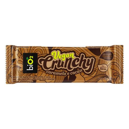 Barra Bio2 Vegan Crunchy Sem Glúten  Sabor Caramelo E Cacau Cobertura Chocolate Meio Amargo 28g