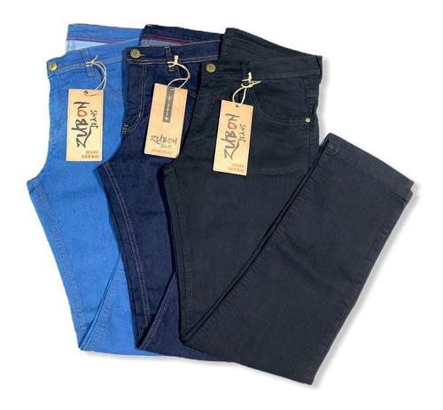 Kit 3 Calças Jeans Masculina Plus Size Confortável Trabalho