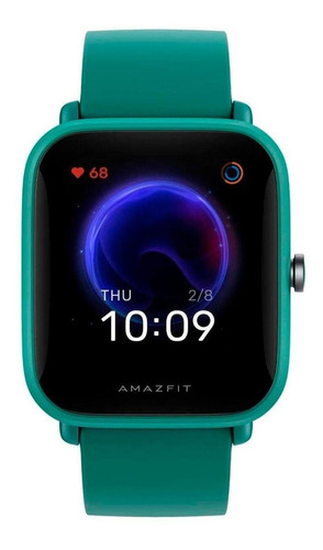 Smartwatch Amazfit Basic Bip U Pro 1.43  Caja De  Policarbonato  Green Malla  Green De  Caucho De Silicona A2008