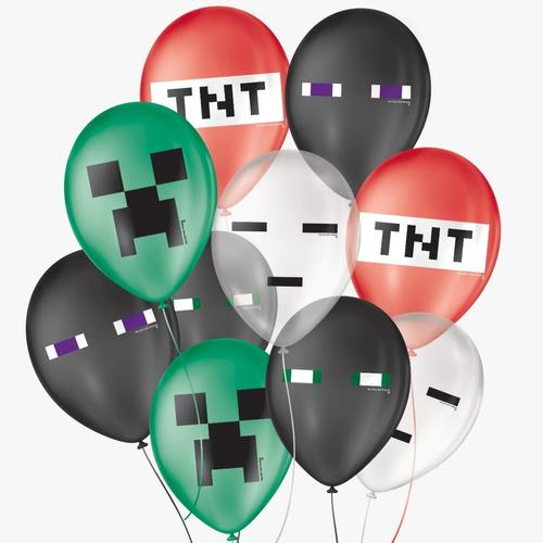 Balão De Festa Pixel Sortido 9'' 23cm - 25 Unidades