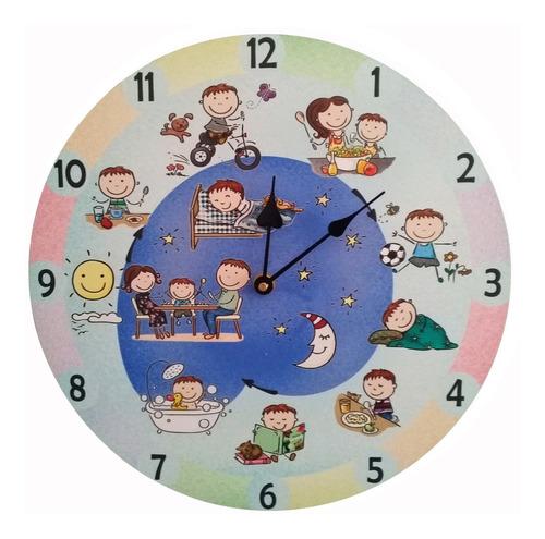 Reloj De Pared Para Niños, Con Rutina Diaria