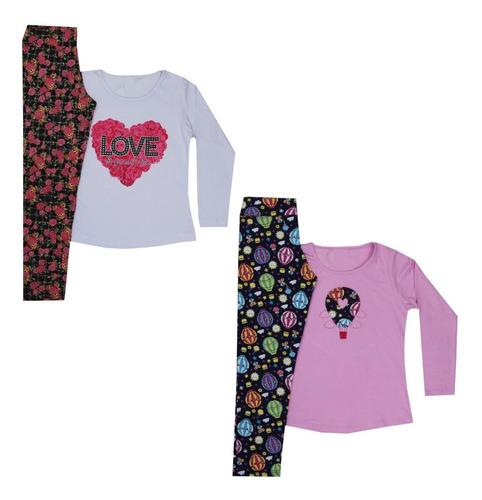 Kit 2 Conjuntos Menina Infantil Outono Inverno 1/2/3/4/6/8