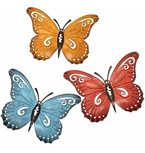 Juego Metal Pared Arte Inspiracional Mariposas Decorativas