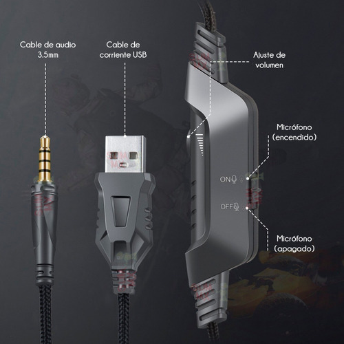 Audifonos Gamer Onikuma K6 Rgb Ps4 Xbox One S, 3.5mm Pc Lap - Ecart