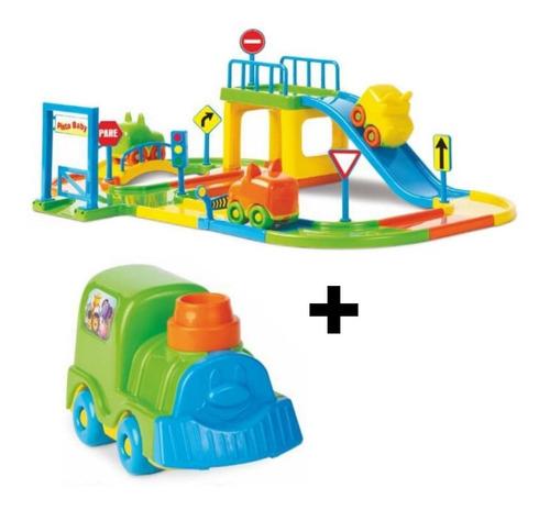 Pista De Carrinhos Brinquedo + Trem Infantil + 2 Carrinhos