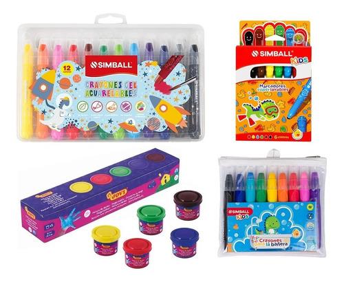 Kit Kids Pintura Dedos, Crayones Bañera, Marcadores Simball