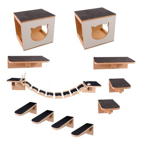 Kit Play Nicho 11 Pcs Gatos Prateleira,toca,escada,ponte Mdf
