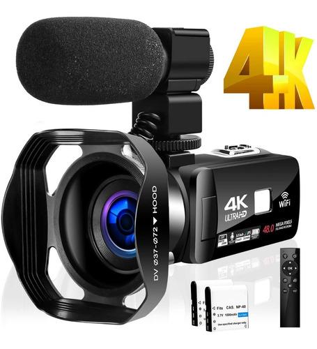Filmadora 4k Hd Wi fi 48mp 30fps Mic Lives Webcam Youtuber