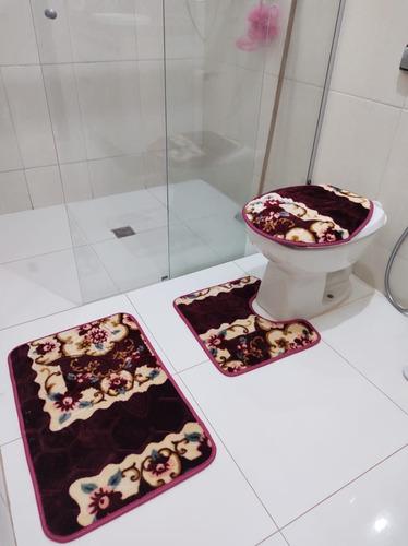 Tapete Jogo De Banheiro Indiano C/ Antiderrapante 03 Peças