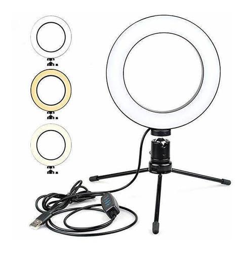 Ring Light De Mesa 6 Polegadas + Tripé De 16 Cm