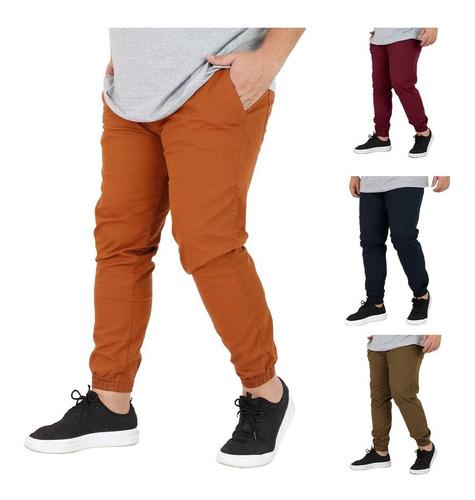 Kit 3 Calça Jeans Sarja Jogger Masculina Plus 50 52 54 56