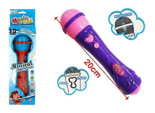 Microfone Infantil Sai A Voz E Musical Brinquedo Cantor Rock