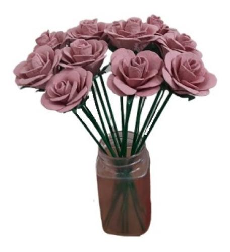 Paquete 6 Rosas Flores Artificiales Decorativas Ecológicas