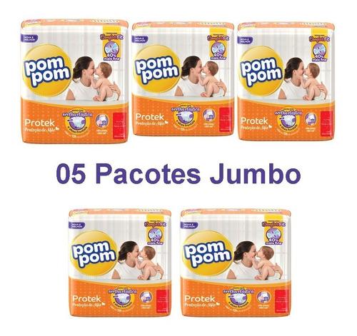 5 Pacotes Kit Fraldas Pompom P M G Xg Jumbo Protek Fralda