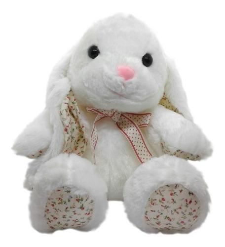 Peluche Conejo Mediano: Con Flores, Moño Y Sonido. 32 Cm