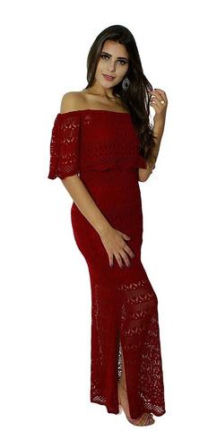 Vestido Longo Linha Tricô Ciganinha Ombro A Ombro Vermelho