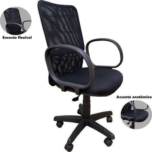 Cadeira De Escritório Giratória Executiva Ergonômica Preta