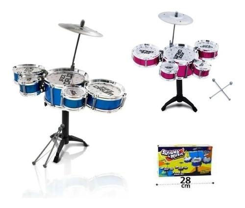 Bateria Acústica Infantil Mini 5 Tambores Brinquedo Musica