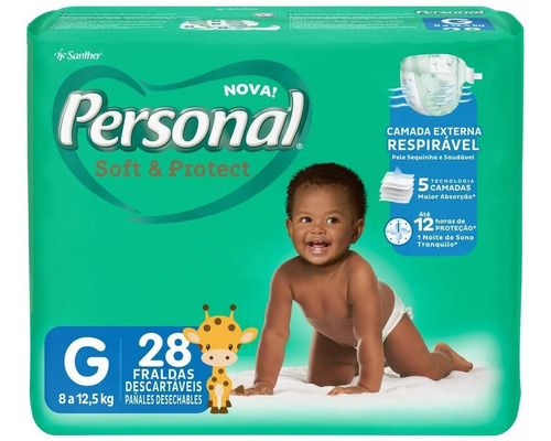 Fralda Personal Soft&protect Jumbo Tamanho G 28 Unidades