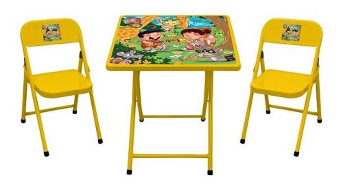 Conjunto De Mesa Infantil Zoológico Com 2 Cadeiras Açomix