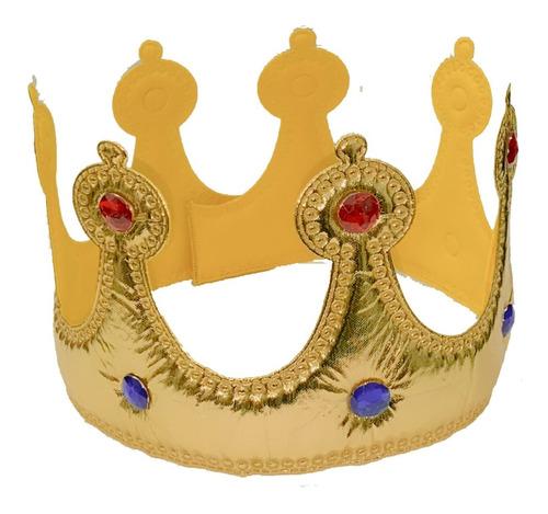 Coroa De Rei Em Plástico Dourada Com Pedras * Melhor Preço!