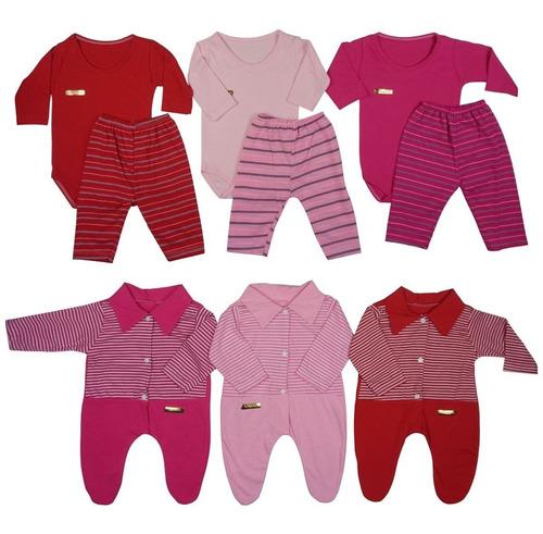 Macacão, Body E Calça Recém-nascido Menina - Kit Com 9 Peças