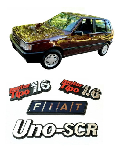 Kit 4 Insignias Fiat Uno Scr 1.6