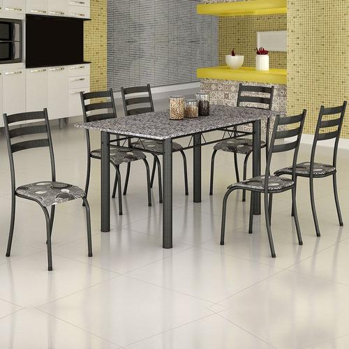 Mesa Itália 6 Cadeiras 591/15 Madmelos Craquelado/folha