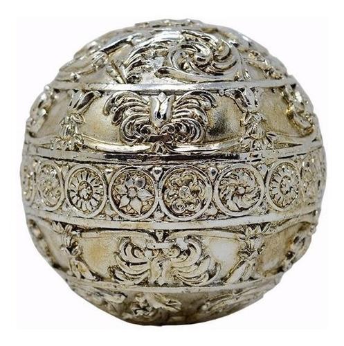 Esfera Decorativa De Resina Plateada 10cm
