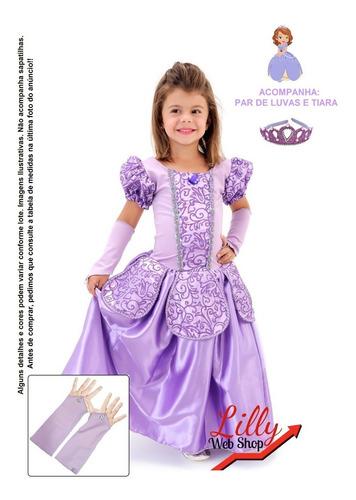 Fantasia Vestido Infantil Princesas Luxo Festa + Luva +coroa