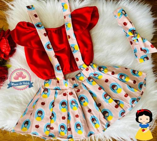 Salopete Com Tiara Infantil Body Feminina Roupa De Bebê Luxo