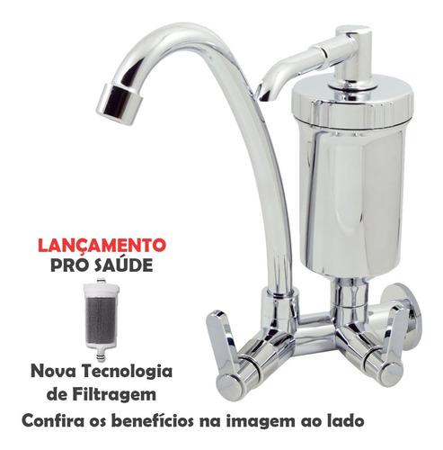 Torneira Com Filtro Bica Móvel Parede Slim 1/4 De Volta