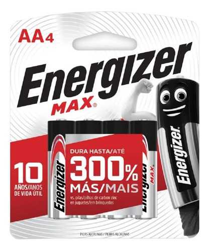 Pila Aa Energizer Max E91 Cilíndrica - Pack De 4 Unidades