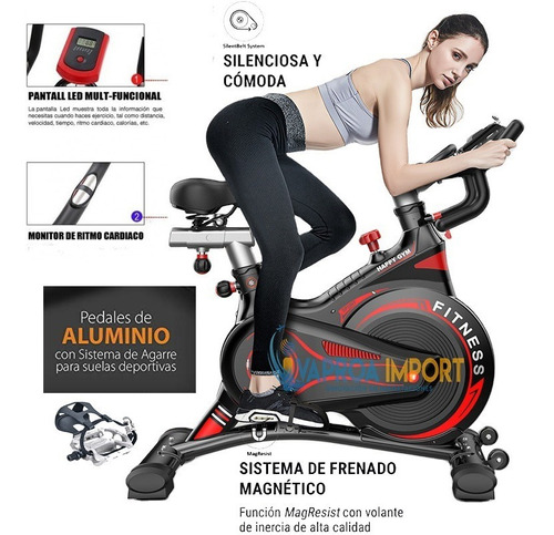 Bicicleta Estática Spinning+pedal Aluminio+monitor+magnética