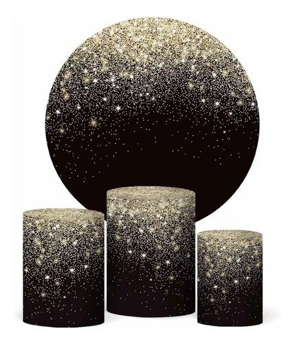 Trio Capa Cilindro + Painel Glitter Veste Fácil C/elástico