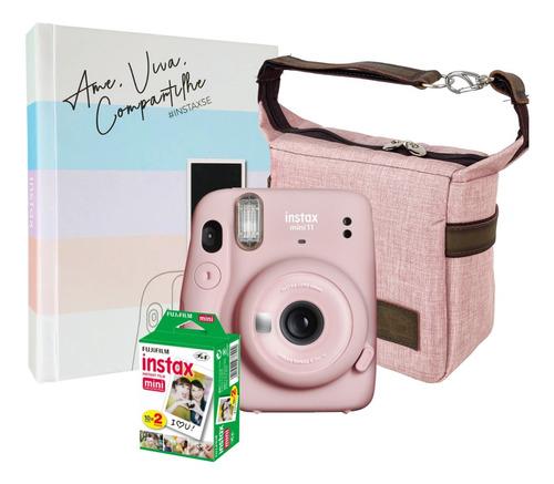Kit Câmera Instax Mini 11 Rosa 20 Filmes Bolsa Álbum